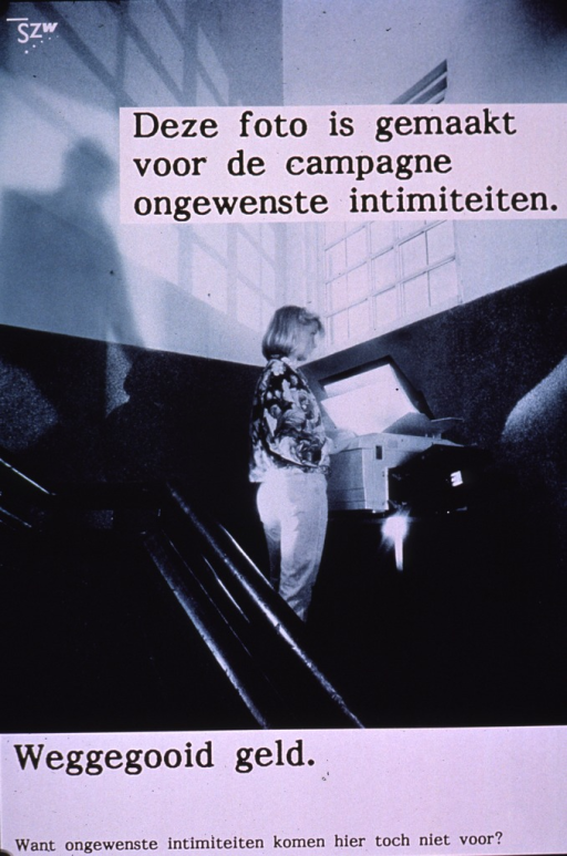 <p>Predominantly green-tone poster with black and white lettering.  Publisher information in upper left corner.  Visual image is a photo reproduction depicting a woman standing at a copier and making a photocopy.  A shadow of a man descending the stairs is visible behind her.  Title superimposed near top of photo appears to deal with a copy being made for a sexual harassment campaign.  Caption and note below photo.  Caption may address wasted money.</p>