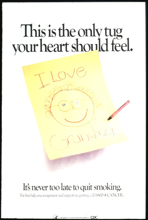 <p>The center of the poster shows a yellow sheet of paper with a child's drawing of a head and the words &quot;I love Grandma&quot; in crayon.</p>
