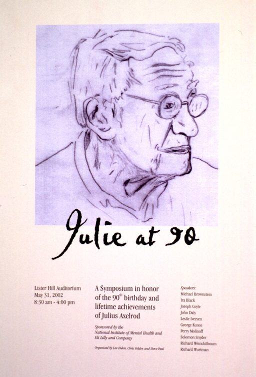 <p>Cream colored poster with black print and a 34 x 30 cm. sketch of Julius Axelrod's profile to the shoulders.</p>