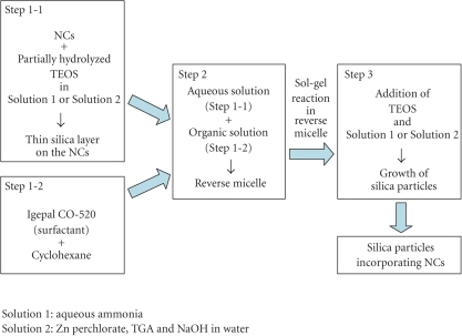 Preparation procedure of silica particles incorporating ZnSe-based NCs.