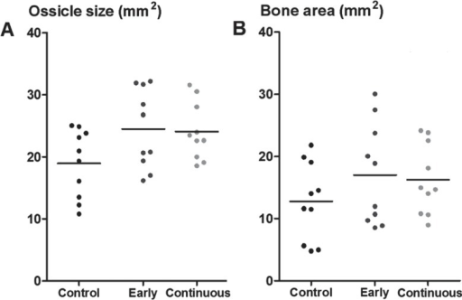 "Radiographic data from rh-BMP 2 implants, with two different gray-scale thresholds for blind examination. Ossicle size (A) was measured with a low threshold, and ""bone area"" (B) with a higher threshold, giving a visual impression of being related to bone density. For comparison, both estimates are presented in mm2. Ossicle size was larger with etanercept treatment (pooled; p = 0.02)."