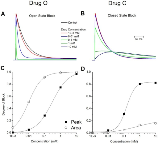 Dose dependent blockade of IKtof.The effect of various concentrations of drug on the action potential for A: open state block, and B: closed state block. The degree of block was determined by holding at −70 mV, the applying a test pulse to +50 mV for 500 ms. C: Open state binding of Drug O. D: Closed state binding of Drug C. Change in peak (▪), change in total current flow (○). Solid lines are Boltzmann fits to the data .