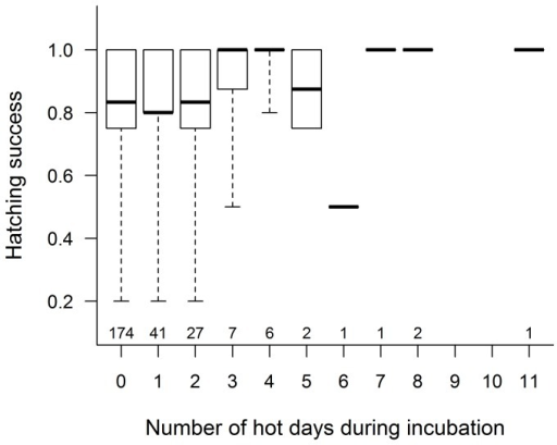 Relationship of hatching success with the number of hot days during incubation.Box plots show the median (thick line), interquartile range (box) and the range of data (whiskers); sample sizes are shown below each box.
