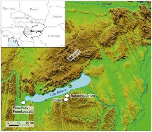 Map showing the location of the Szólád cemetery on the southern shore of Lake Balaton and the sites of Balatonszárszó and Kestzthely-Fenékpuszta, which have yielded strontium isotope reference data.The DEM is based on SRTM (90 m) data, edited by H.-J. Köhler, U. v. Freeden, D. Peters and C. Knipper.