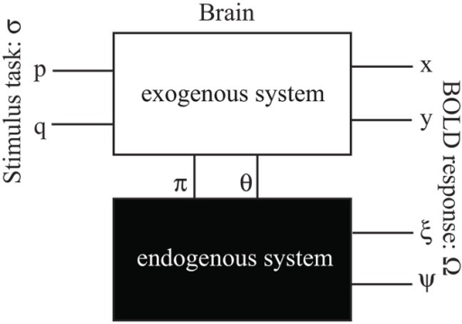 "A block diagram describes the exogenous-endogenous dual systems and their stimuli-responses model.The exteroceptive stimulus σ consists of p and q states for ""seeing eyes only"" and ""seeing face without eyes"". The arising interoceptive stimuli π and θ are the dual pairs of p and q. The BOLD response Ω consists of exogenous response Ω+ and endogenous response Ω-. The exogenous Ω+ can be further decomposed to two states x and y for ""reciprocal responses and non-reciprocal responses; the endogenous Ω- can also decomposed to two states ξ and ψ which are the dual pairs of x and y."