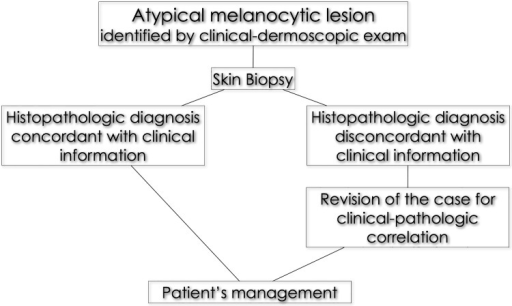 Workflow for the management of atypical melanocytic lesions in our tertiary referral center.When the histopathologic report is rendered, the clinician reviews the case in light of the clinical-dermoscopic pictures. Cases for which a good clinico-pathologic correlation is missing are jointly reviewed by clinicians and pathologists combining all relevant clinical and histopathologic data including clinical-dermoscopic images. A consensus diagnosis is finally reached and the patient treated accordingly.