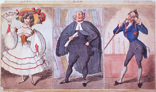 <p>Three vignettes showing the costume and general demeanor of the personification of the terms in the title.</p>