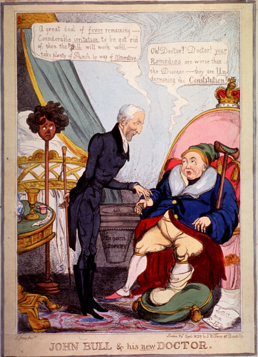 <p>King George IV, gouty and pictured as John Bull, is anxiously attended by the Duke of Wellington.</p>