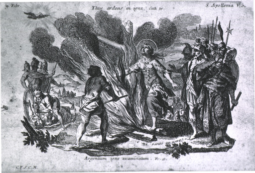 <p>Two scenes: to the left, having her teeth forcibly removed; to the right, she leaps into the flames of a fire that was meant to frighten her into renouncing her beliefs.</p>