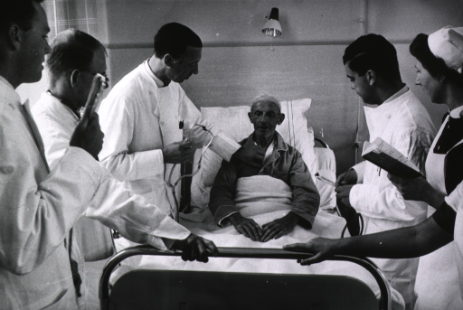 <p>Interior view of hospital ward: a physician is standing at the bedside of an old man, he is holding a stethoscope; students, holding their own stethoscopes, are standing around the patient's bed.</p>