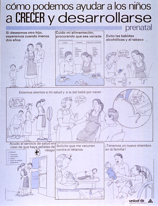 <p>White poster with black lettering.  Title at top of poster.  Poster is a series of illustrations in which a family participates in prenatal care and healthy prenatal behavior.  Scenes include eating a variety of foods, refusing alcohol and cigarettes, checking weight, taking blood pressure, measuring fetal growth, going to the hospital if certain symptoms occur, having a tetanus shot, and finally the baby's arrival.  UNICEF and health agency logo in lower right corner.</p>