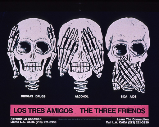 <p>Predominantly teal poster with teal and white lettering.  Visual images are illustrations of three skulls and skeletal hands acting out &quot;hear no evil, see no evil, speak no evil.&quot;  Portions of the caption text below each.  Title below caption; note below title.  Publisher information on right side of poster.</p>