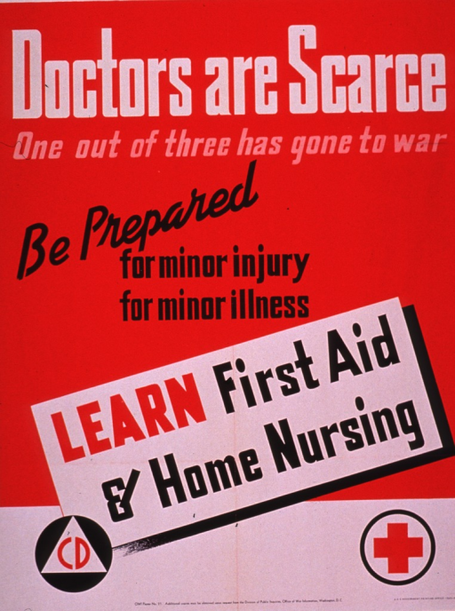 <p>Predominantly red poster with multicolor lettering.  Title at top of poster.  Note text dominates poster.  Visual images, below note text, are a civil defense logo and a red cross logo.  Publisher and poster number information at bottom of poster.</p>