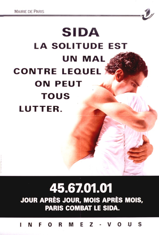 <p>Photographic representation from the waist up of two people embracing. One person is a young man, shirtless, and the other is a person wearing a long sleeve white shirt.</p>