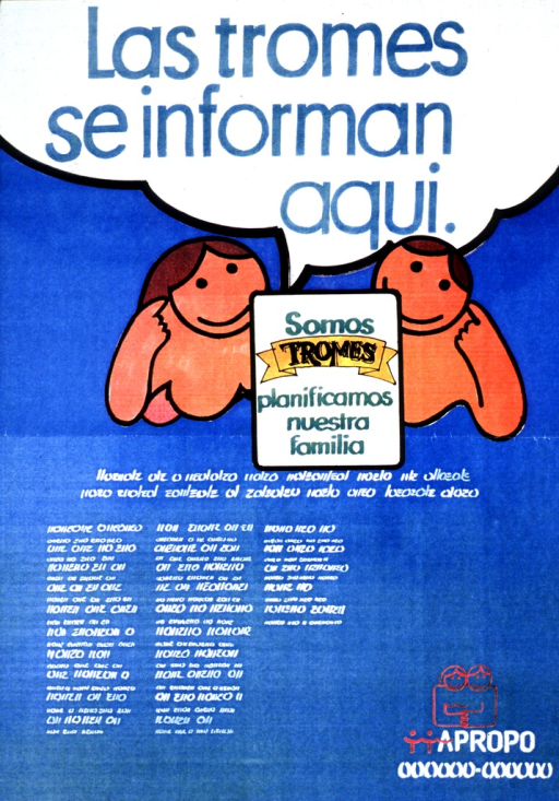 <p>Predominantly blue poster with multicolor lettering.  Title at top of poster may imply that &quot;hip&quot; or &quot;savvy&quot; people seek family planning information.  Visual image is an illustration of two people, leaning on their elbows.  A sign bearing the note text sits between them.  Text in an unidentified language below illustration and sign.  Publisher information at bottom of poster.</p>