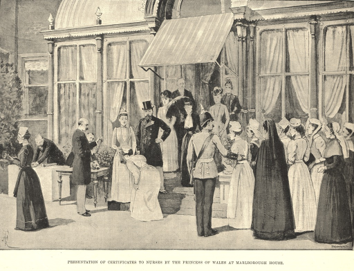 <p>Depiction of a ceremony before the front steps of Marlborough House.  Nurses stand in a row in nurses' uniforms.  One of the nurses approaches the Princess of Wales and cursteys.  Other dignitaries watch; a man to the left of the princess holds a diploma.</p>
