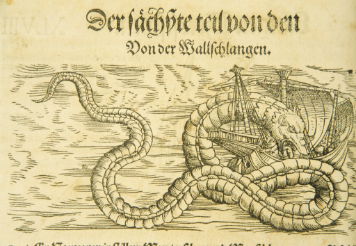 <p>Woodcut illustration of a gigantic snake devouring a ship and men aboard.</p>
