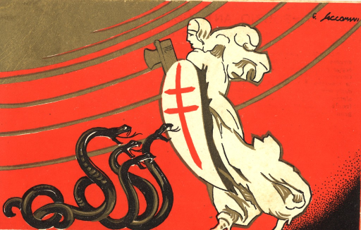 <p>A white figure of a nurse viewed from left profile, against red and gold background, carries a huge white shield with a red Cross of Lorraine (i.e. symbol of the global fight against tuberculosis and lung diseases) painted on it. She is facing four large brown snakes ready to attack. In her right hand this nurse guardian is carrying the Fasces, a bundle of rods with an ax projecting from it as a symbol of power.</p>