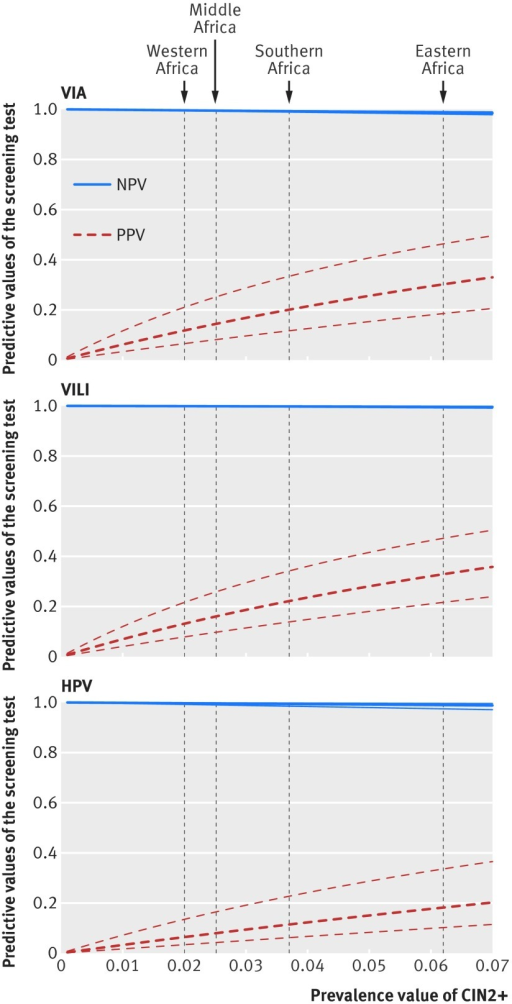 Fig 4 Positive and negative predictive values of VIA, VILI, and HPV testing in detecting CIN2+ in sub-Saharan Africa. Curves=variation of positive and negative predictive values as a function of the prevalence of disease (CIN2+) using the Bayes'theorem, by screening test and by geographical region (western Africa, middle Africa, southern Africa, and eastern Africa). We considered the absolute sensitivity and specificity of each test to be constant and equal to the pooled values calculated with a random effects model. Prevalence of CIN2+ is shown on the x axis, and the resulting positive or negative predictive values are noted on the y axis. Heavy dotted curves=​​fitted predictive values; light dotted curves=95% confidence bands; NPV=negative predictive value; PPV=positive predictive value