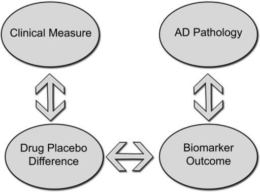 Standard parallel group design to demonstrate disease modification groups receiving active treatment and placebo would be compared on clinical measures while an effect on disease pathology would be demonstrated by showing differences on a biomarker measure of disease progression. A correlation between drug–placebo difference and a biomarker outcome could potentially support a claim of disease modification.
