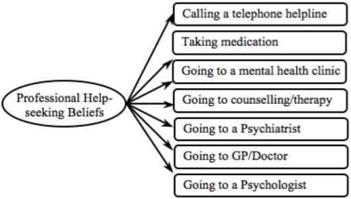 Proposed professional help-seeking beliefs model.