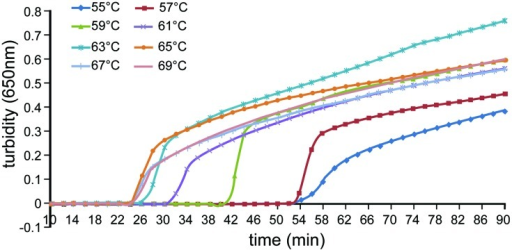 Effect of differing temperatures on the efficiency of detection of A. baumannii by loop-mediated isothermal amplification (LAMP). Turbidity was monitored using a Loopamp real-time turbidimeter by measuring the absorbance at 650 nm every 6 s.