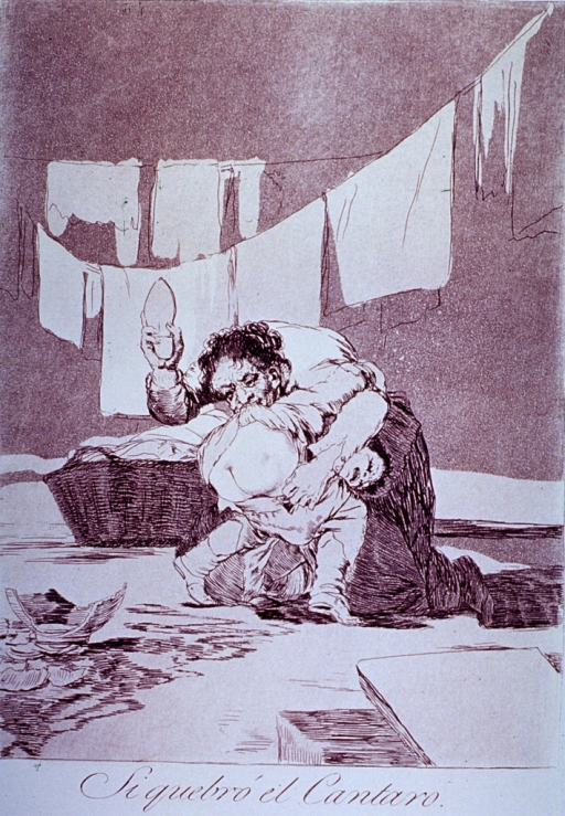 <p>A mother exposes the buttocks of a child with her teeth and spanks the child; a broken jar is in the foreground, and laundry hangs on a line in the background.</p>