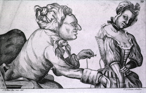 <p>A woman in the process of getting dressed enjoys the embrace of the man with his hand in her dress while he is lacing her stays.</p>