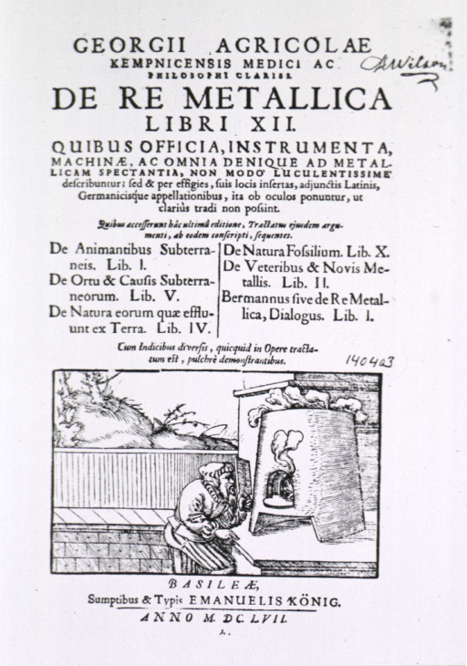 <p>Title page with vignette: a man is looking through a slotted board, that he is holding before his face for protection, into the opening of a furnace.</p>