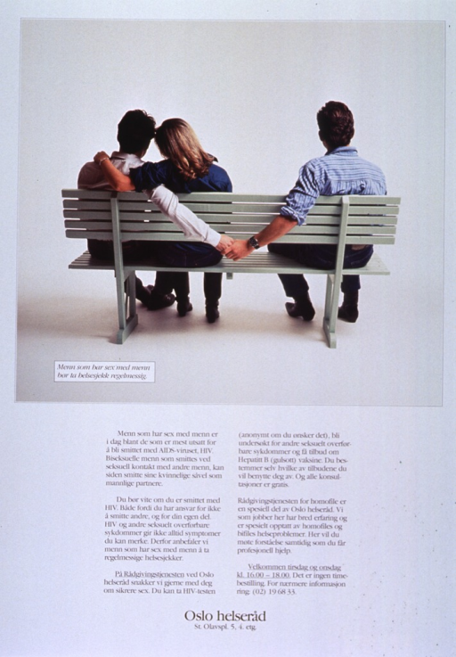 <p>White background with black lettering. Top half of poster is a color photograph of three people sitting on a green bench with their backs to the camera. A man and woman are sitting close together on the left side with the woman's left arm around the man. The other person, a man, is sitting on the right side of the bench, and his left arm is draped over the back of the bench, holding the hand of the first man, whose right arm is behind the bench. The title is superimposed on the bottom of the photograph. Five paragraphs of text are below the photograph, while publisher information is at the bottom of the poster.</p>