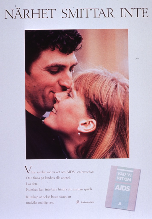 <p>Predominantly white poster with black and white lettering.  Title at top of poster.  Dominant visual image is a color photo reproduction featuring a man and woman standing cheek to cheek, as if about to kiss.  Caption below photo announces the availability of a brochure about AIDS and encourages reading it as a way to prevent the spread of the disease and relieve unnecessary anxiety.  Publisher information and a color photo reproduction of the brochure near caption.</p>