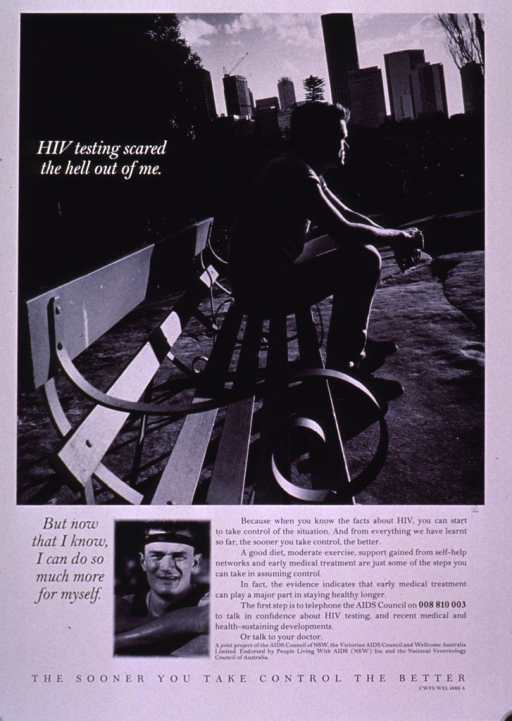 <p>Black and white poster with a photo reproduction of a man sitting on a park bench. A small portrait of the man with a headband and muscle shirt is at the bottom of the poster beside the text. The text emphasizes the importance of early diagnosis of HIV and how an HIV positive person can maximize a healthy life style.</p>