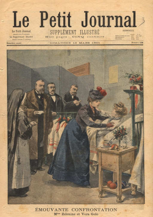 <p>Illustration of a meeting that took place in the hospital room of Vera Gelo, a Russian student who had been injured while coming to the aid of a professor in the College de France.  A Mlle. Zelenine had approached M. Emile Deschanel with a revolver as he prepared to lecture.  Gelo lunged between Zelenine and Deschanel and was critically injured as the shots were fired.  The illustration shows the repentant Zelanine embracing Gelo in the latter's hospital bed.  A nun prays to the left.  In the background, agents from the Saint-Lazare prison watch.</p>