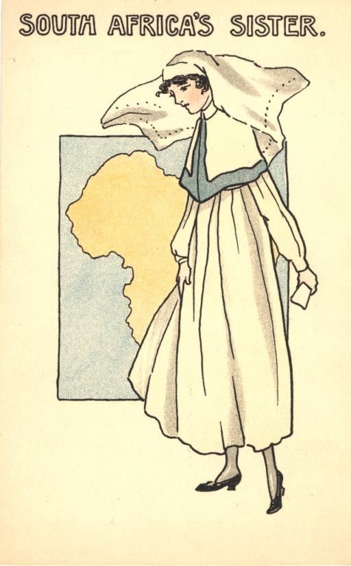 <p>Postcard featuring a color illustration of a nurse in unifrom standing in front of a map of Africa.  She is holding something in her left hand. From a series of 6 postcards showing uniforms of nursing services of the Commonwealth and the United States.</p>