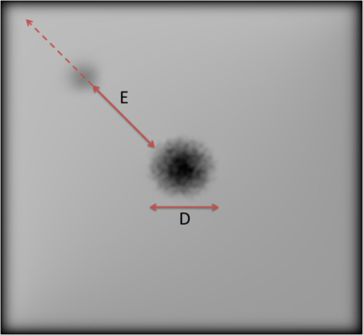 Sample of the simulated image using the Pelli Robson's contrast sensitivity test. The size of scotoma here is equivalent to the same size of macula. The contrast of object is 1.8 with eccentricity of 12.74 mm from the macula's centre. The arrows show the direction of eccentricity (E) from the macula's centre and the diameter (D) of the scotoma (which equals to the macula's diameter here).