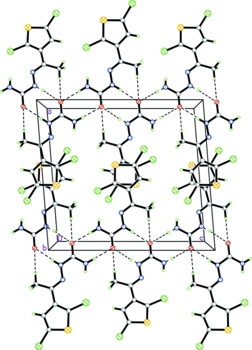 The crystal packing in (I), viewed along the b axis. The dashed lines indicate hydrogen bonds and C-H···O contacts.