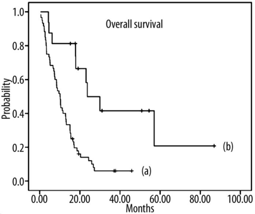 Kaplan-Meier curve: Median overall survival in patients with metastatic adenocarcinoma of the stomach or esophagogastric junction (UICC stage IV) after treatment with high-dose 5-FU/FA as 24h-infusion (AIO regimen) plus irinotecan. (a) Survival curve for patients without secondary resection (n=60) with a median survival of 10.1 months; (b) Survival curve for patients with secondary resection (n=16) with a median survival of 23.7 months.
