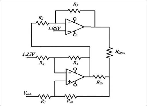 the howland current pump  lower opamp  provides the con