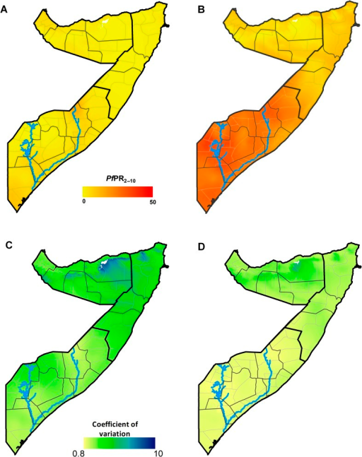 (A) Map of the posterior annual meanPfPR2–10 prediction to 2010(contemporary) at 1×1 km grid location in Somalia. (B) Map of themaximum mean PfPR2–10 prediction (receptive)at 1×1 km grid location as computed from the posterior annualmean PfPR2–10 prediction for each year from2007 to 2010. (C) Map of the coefficient of variation (the SD/the meanPfPR2–10 prediction) of the contemporaryprediction at 1×1 km grid location. (D) Map of the coefficient ofvariation at 1×1 km grid location of the receptive prediction.The thick black lines show the zone boundaries, the thin black lines show theregional boundaries and the thin grey lines show the district boundaries.Higher coefficient of variation of the predictions suggests higheruncertainties of the PfPR2–10 predictions.The scale bar for the continuous PfPR2–10ends at 50, which is the upper limit of mesoendemic transmission. The blueslines show the location of the Juba (lower) and Shabelle (upper) Rivers.