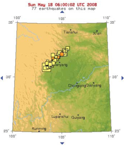 Map showing epicentre and earthquakes relating to the great Sichuan Event of 12 May 2008 (source: USGS).