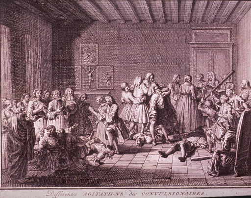 <p>Interior scene: a religious service (exorcism?) is in progress; a large group of people are reading and praying; some (perhaps bewitched) exhibit states of hysteria; one man is bludgeoning another; religious iconography hangs over an alter in background.</p>
