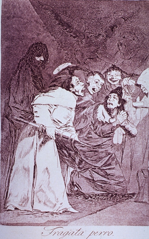 <p>Men dressed in clerical robes attempt to force a clyster on another man. Demon-like figures hover in the background.</p>