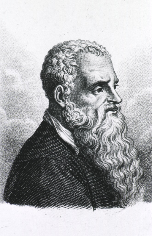 <p>Head and shoulders, right profile, long beard.</p>
