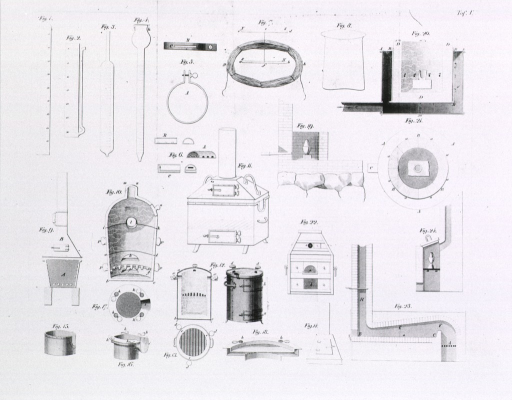 <p>Illustrations of various chemical apparatus: calibrated glass works, pressure vessels, and furnaces.</p>