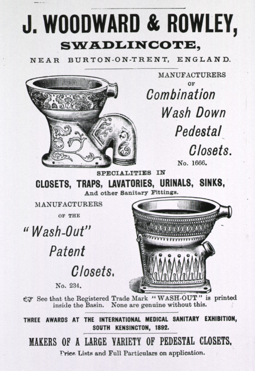 <p>Advertisement for 'closets, traps, lavatories, urinals, sinks, and other sanitary fittings'; two types of pedestal closets are depicted.</p>