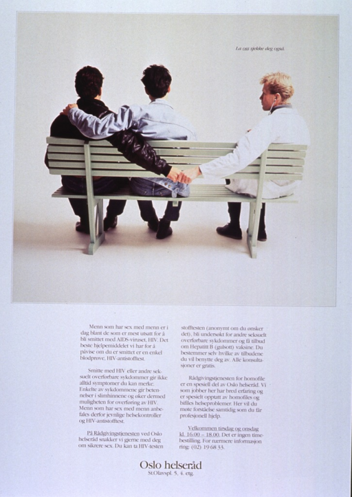 <p>White background with black lettering. Top half of poster is a color photograph of three people sitting on a green bench with their backs to the camera. Two men are sitting close together on the left side with one man's left arm around the other man. The other person, a man in a white jacket with a stethoscope in his ear, is sitting on the right side of the bench, and his left arm is draped over the back of the bench, holding the hand of the first man, whose right arm is behind the bench. The title is superimposed at top of the photograph. Five paragraphs of text are below the photograph, while publisher information is at the bottom of the poster.</p>