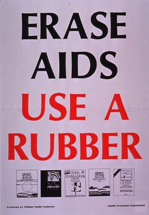 <p>Predominantly white poster with black and red lettering.  Title dominates poster.  Visual images are illustrations of condom packages.  Publisher information at bottom of poster.</p>