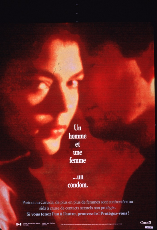 <p>Two-sided multicolor poster with multicolor lettering.  French side features a color photo reproduction depicting the faces of a male-female couple.  The woman's face is highlighted.  Title superimposed on center of poster.  Additional text notes that many women contract AIDS by having unprotected sex.  Note and publisher information at bottom of poster.</p>
