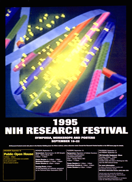 <p>Black poster with the title in large white print and the remaining text primarily in smaller white print. The upper two-thirds of the poster shows the DNA double helix in shades of light yellow, blue, pink, green, and orange.</p>