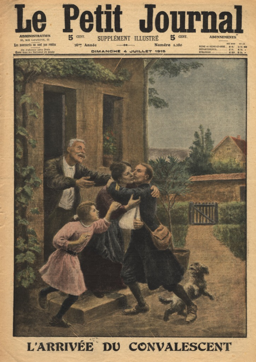 <p>A soldier with his right arm in a sling embraces a woman on the front steps of a home.  A small girl and an older man approach the soldier with open arms, while a dog scampers around the soldier's foot.</p>